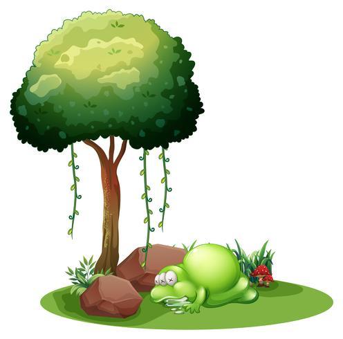 Un monstre qui dort sous l'arbre vecteur