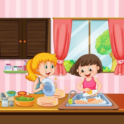 Soeur nettoyant des plats dans la cuisine vecteur