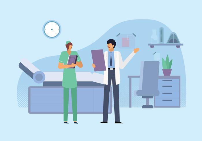 Illustration de plat Vector clinique de soins de santé
