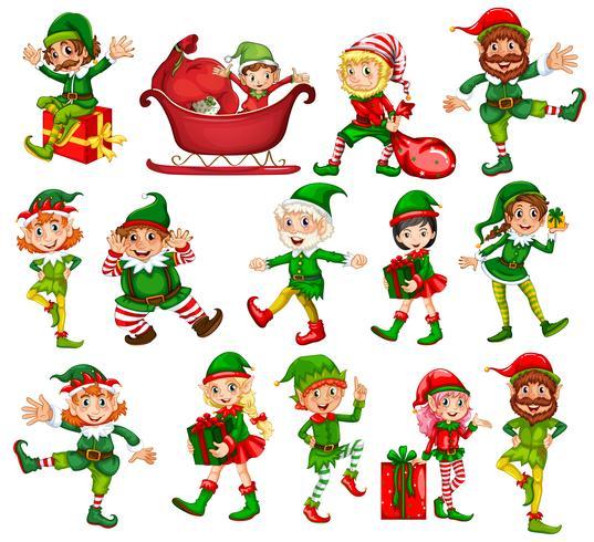 Lutin de Noël dans différentes positions vecteur
