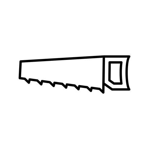 Icône ligne noire scie à main vecteur