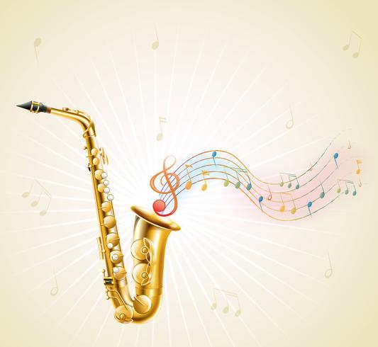 Un saxophone avec des notes de musique vecteur