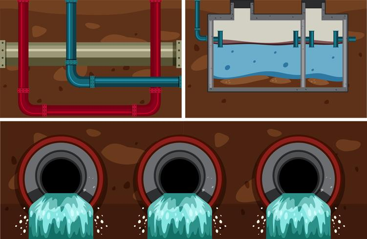 Système de tuyaux d'égout souterrains vecteur