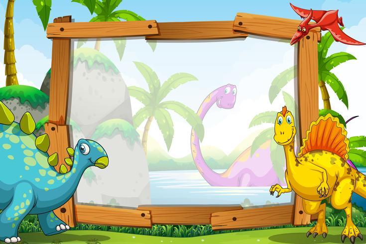 Dinosaures par le cadre en bois vecteur