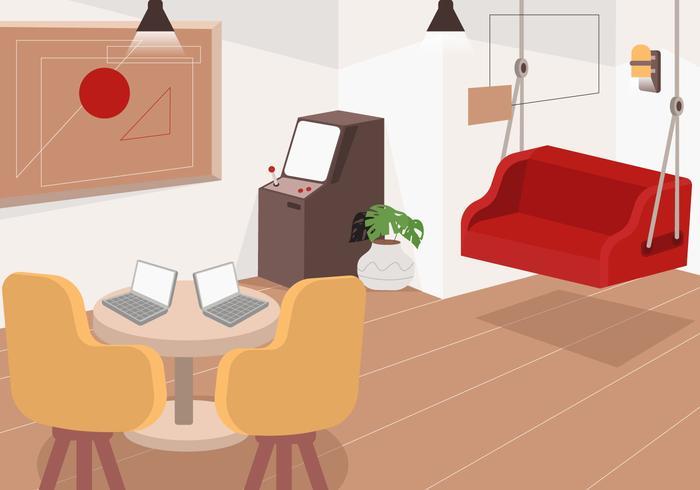 Bureau confortable fond plat Vector Illustration