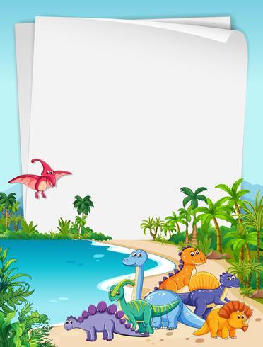 Thème de papier Dinosaure dans la nature vecteur