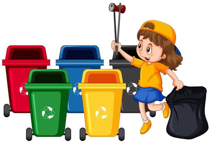 Fille ramassant les ordures et le nettoyage vecteur