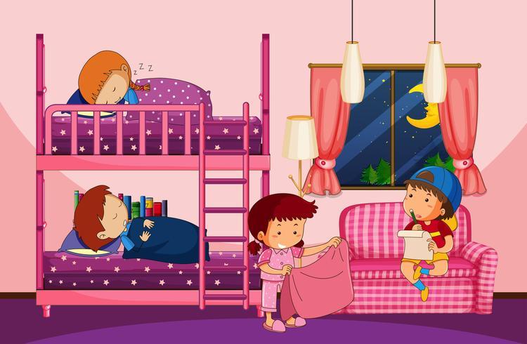 Quatre enfants dans la chambre avec lits superposés vecteur