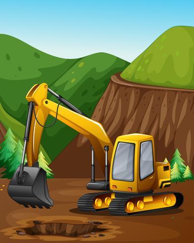 Une excavatrice creusant le sol vecteur