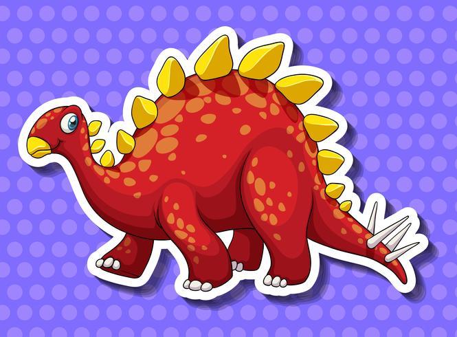 Dinosaure rouge sur fond bleu vecteur