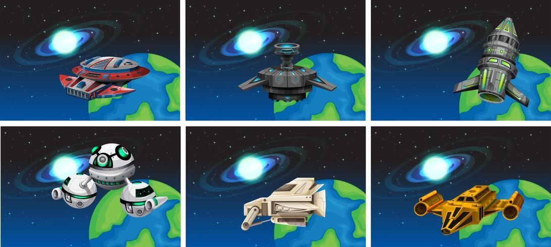 Vaisseaux spatiaux flottant dans l'espace vecteur