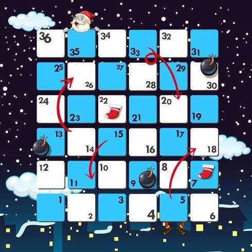 Modèle de jeu avec le père Noël de nuit vecteur