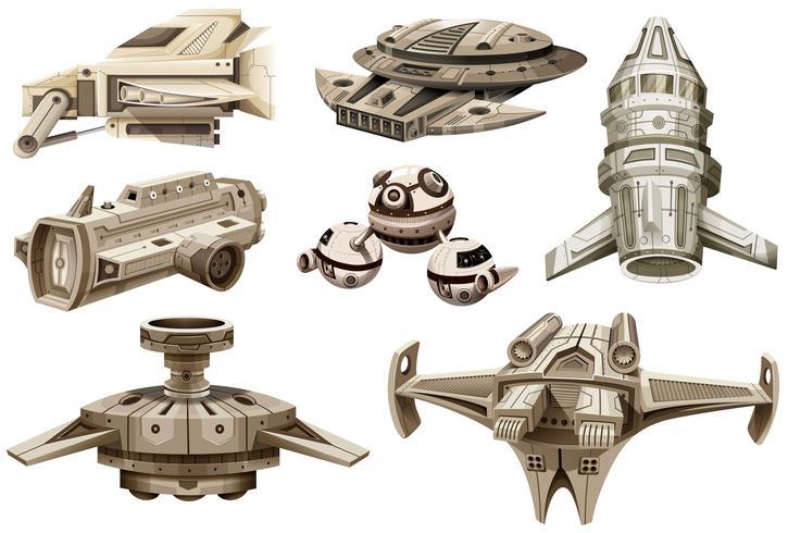 Différents modèles de vaisseaux spatiaux vecteur