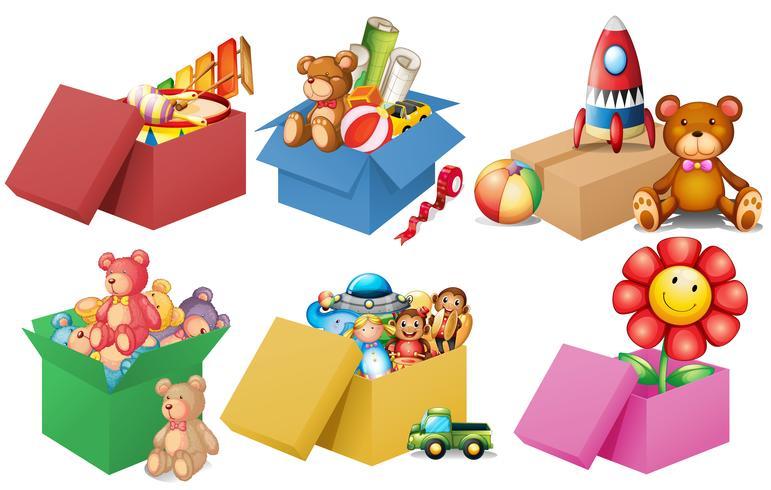 Six boîtes de jouets vecteur