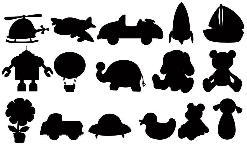 Ensemble de jouets de silhouette vecteur