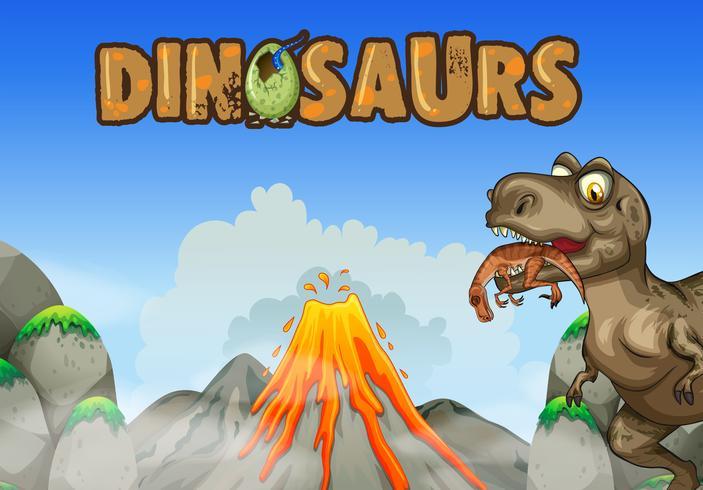 Scène de fond avec un dinosaure mangeant de la viande vecteur