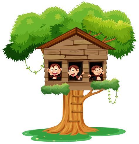 singe jouant à treehouse vecteur