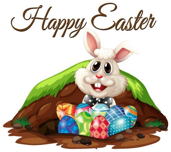 Joyeux Pâques Lapin et Oeufs vecteur