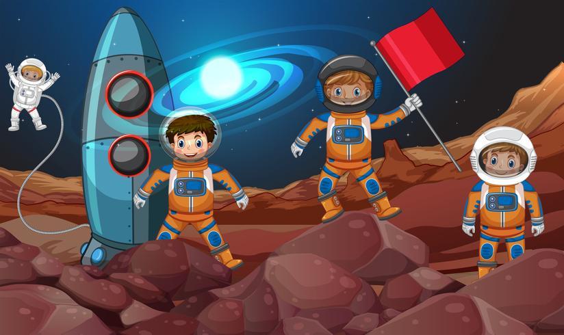 Quatre astronautes dans l'espace vecteur