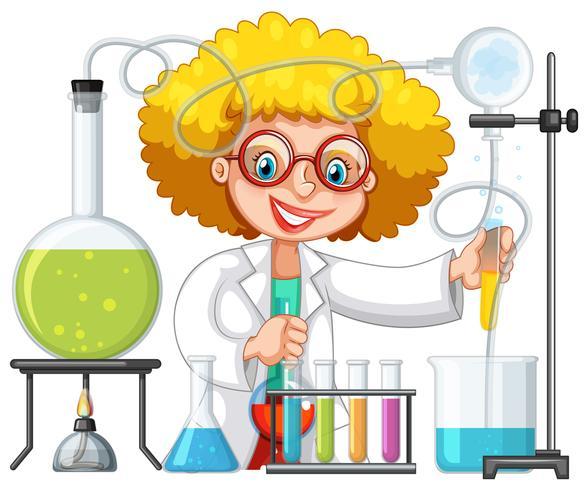 Un étudiant en classe de laboratoire scientifique vecteur