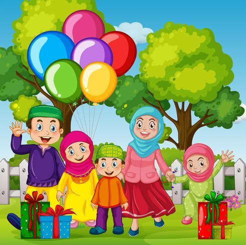 Un anniversaire de fête de famille musulmane vecteur