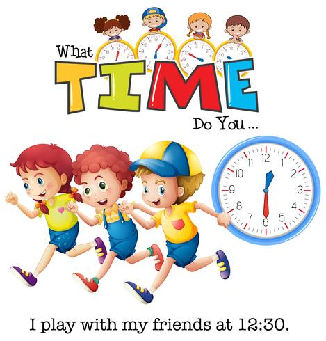 Les enfants jouent à 13h30 vecteur