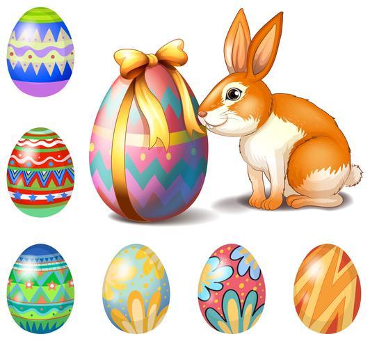 Sept oeufs de Pâques et un lapin vecteur