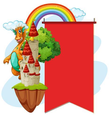 Bannière rouge avec dragon à la tour vecteur