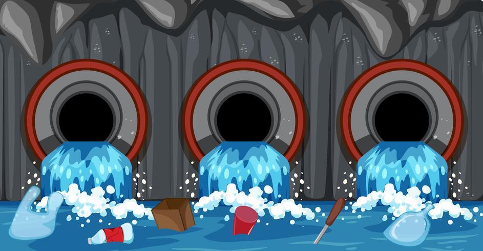 Système de tuyaux d'égout de ménage vecteur