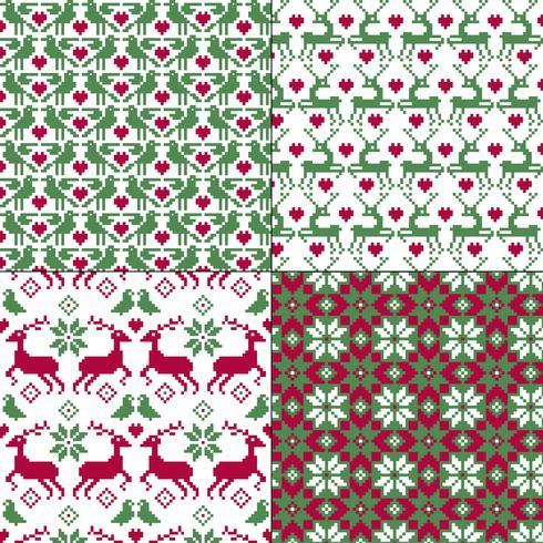 motifs nordiques sans soudure rennes et oiseaux vecteur