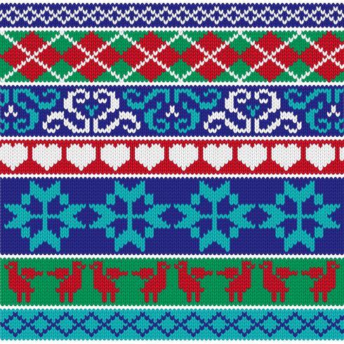 motifs de bordure en tricot nordique vecteur