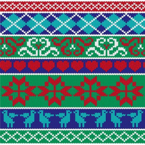 motifs tricotés de bordure nordique vecteur