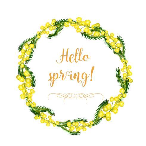 Une couronne décorative de fleurs et de feuilles de mimosa et les éléments de la couronne séparément. Printemps et été délicates fleurs jaunes. Objets isolés sur fond blanc. vecteur