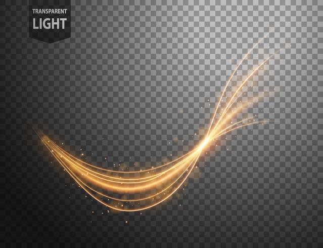 Ligne d'or ondulée abstraite de la lumière avec un fond transparent vecteur