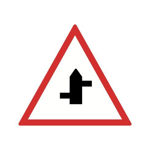 Vecteur mineur routes de droite à gauche icône de panneau de signalisation