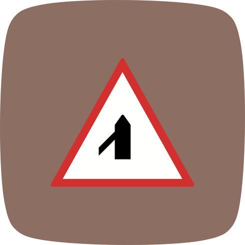 Vecteur mineur route croisée de l'icône de panneau de signalisation gauche