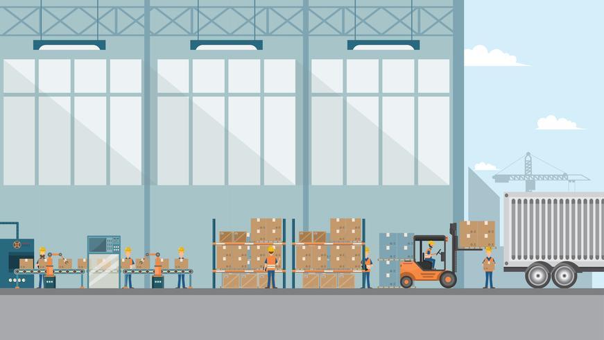 usine industrielle intelligente dans un style plat avec des ouvriers, des robots et une chaîne de montage vecteur