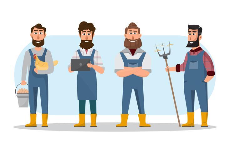 bande dessinée d'agriculteur dans divers personnages. Ferme rurale biologique vecteur