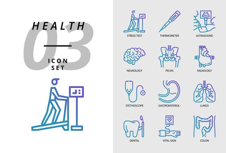 Pack d'icônes pour la santé, l'hôpital, les tests de résistance, le thermomètre, les ultrasons, la neurologie, le pelvis, la radiologie, les stéthoscopes, les gastro-entérologues, les poumons, les dents, les signes vitaux, le colon. vecteur