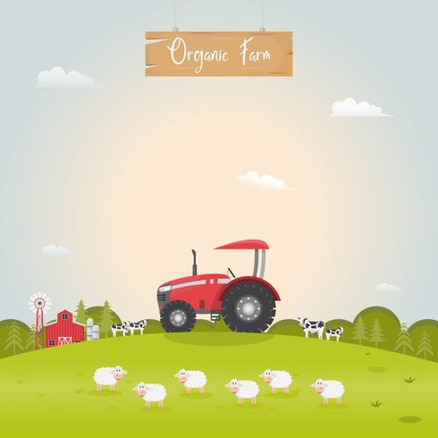 Ferme avec maison de ferme et animaux de ferme laitière. Illustration vectorielle vecteur