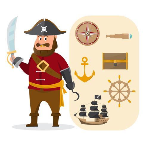 illustration de vecteur de dessin animé aventure de pirate avec ensemble d'accessoires rétro.