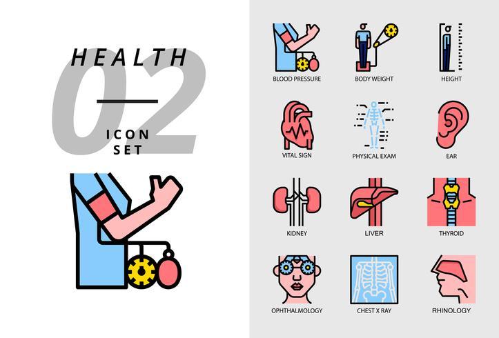 Pack d'icônes pour la santé, l'hôpital, la pression artérielle, le poids, la taille, le signe vital, l'examen physique, oreille, rein, foie, thyroïde, ophtalmologiste, radiographie thoracique, rhinologie. vecteur