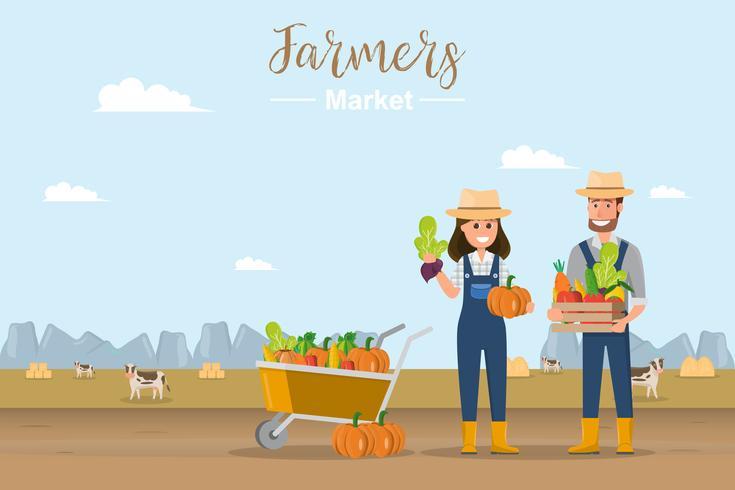 Magasin de la ferme. Marché local. Vente de fruits et légumes. vecteur