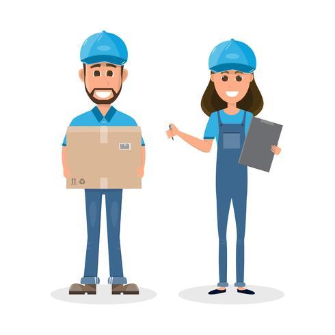 livreur et fille avec boîte. Postman design isolé sur fond blanc vecteur