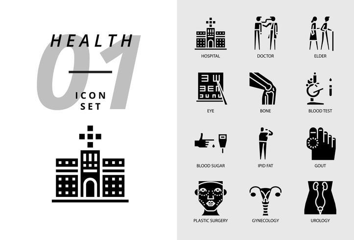 Pack d'icônes pour la santé, l'hôpital, le médecin, les personnes âgées, les yeux, les os, les prises de sang, la glycémie, la graisse ipid, la goutte, la chirurgie plastique, la gynécologie, l'urologie. vecteur