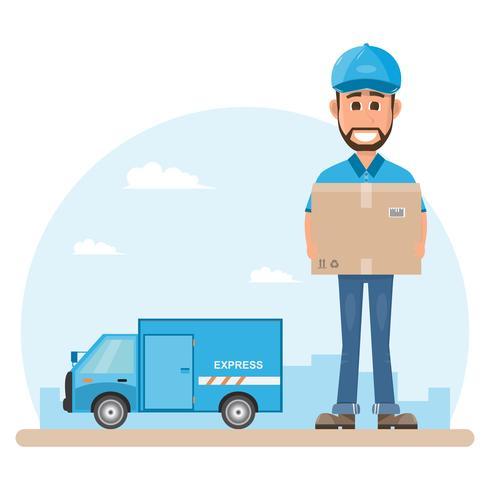 livreur avec boîte. Postman design isolé sur fond blanc. Courrier au chapeau et uniforme avec paquet. vecteur