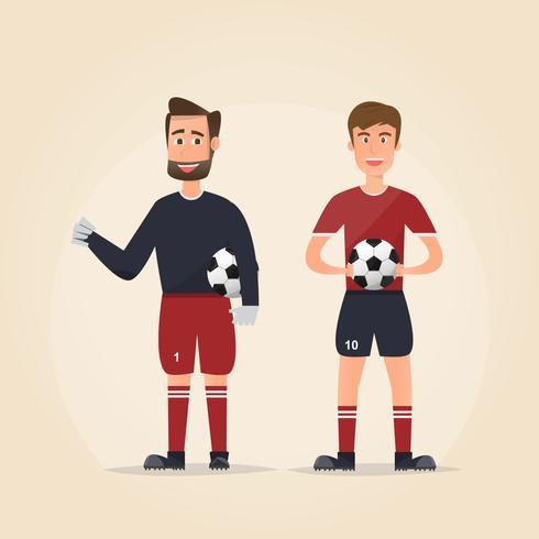 Ensemble de personnages de joueurs de football montrant différentes actions vecteur