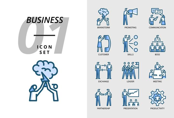 Pack d'icônes pour entreprise, Brainstorm, promotion, communication, client, compétences, patron, échange, leader, réunion, partenariat, présentation, productivité vecteur