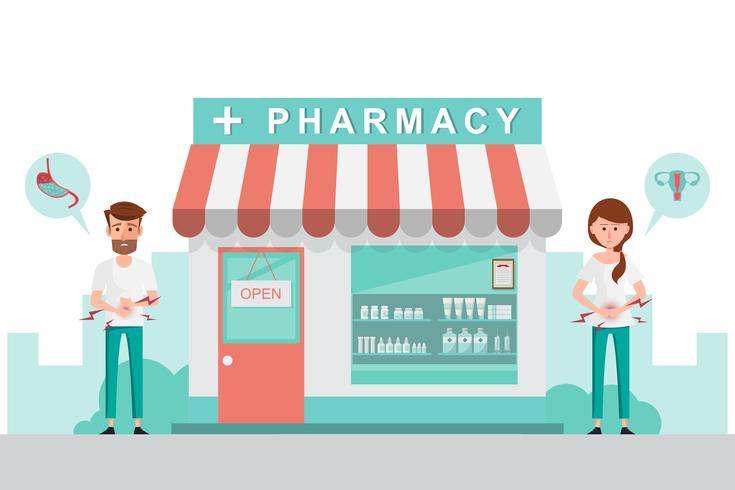 pharmacie avec homme et femme devant la pharmacie. vecteur