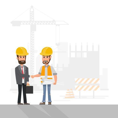 architecte, contremaître, ouvrier ingénieur en construction gérer un projet sur un chantier de construction vecteur